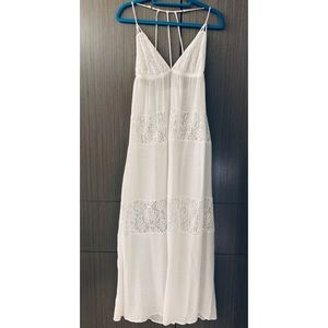 Shear White & Lace Maxi Dress